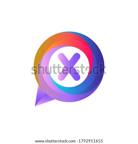X letter colorful on circle chat icon logo.X chat logo minimalist template using modern and gradient style.X letter ellipse chat logo.X letter chat logo Foto stock ©