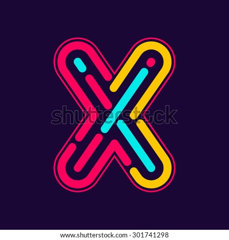 x letter logo with neon line or