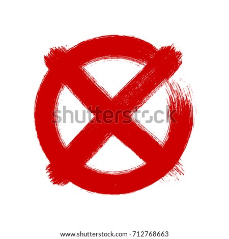 X mark in circle, brush draw style, vector illustration