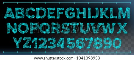 X-ray Font Vector. Transparent Roentgen Decorative Alphabet. Radiology Neon Scan Effect. Blue Bone. Futuristic Medical Light Typography. Capitals Letters And Numbers. Isolated Typeset Illustration