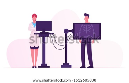 X-ray Medical Diagnostics Bones Skeleton Checkup. Radiology Body Scanner Equipment for Patient Disease, Doctor Research Injury and Trauma on Scan Image for Diagnosis. Cartoon Flat Vector Illustration