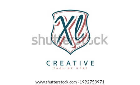 XL Initials, handwriting logo vector