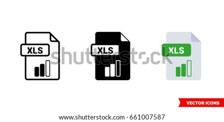 XLS file icon of 3 types: color, black and white, outline. Isolated vector sign symbol.