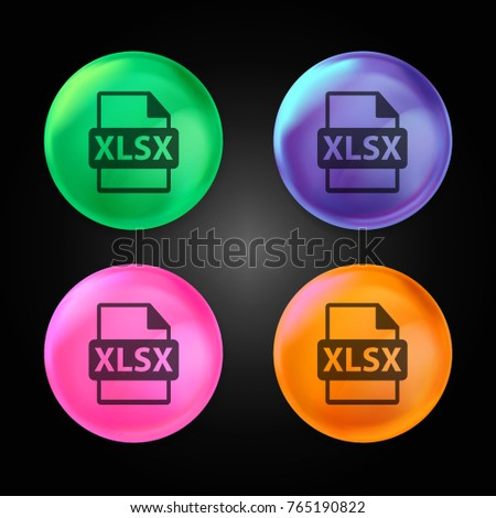 XLSX file format extension crystal ball design icon in green - blue - pink and orange.