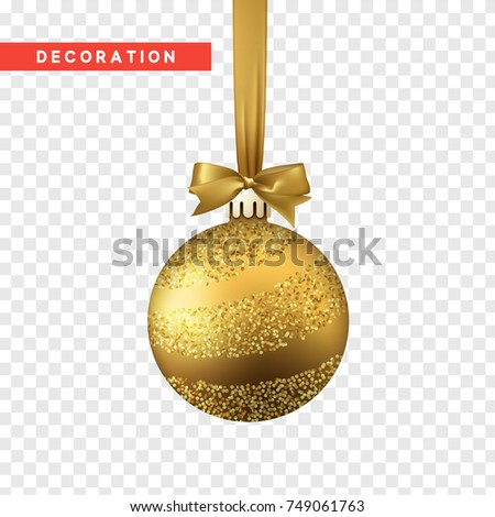 Xmas balls gold color. Christmas bauble decoration elements. Object isolated a background with transparency effect