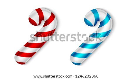 Xmas Candy Cane Set, Merry Christmas and Happy New Year Concept, Isolated on White Background, Hand Drawn Realistic Vector 3D Illustration