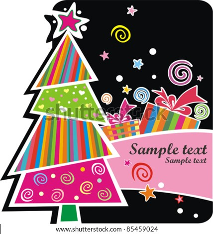 Xmas card. Celebration background with Christmas tree, gift boxes and place for your text. vector illustration - stock vector