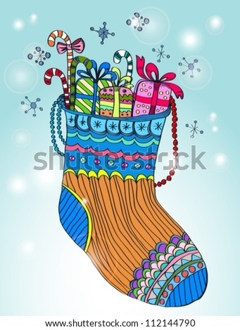 Xmas color socks, bright vector illustration