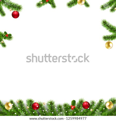 Xmas Garlands With Fir Tree And Christmas Toys With Gradient Mesh, Vector Illustration #1259984977