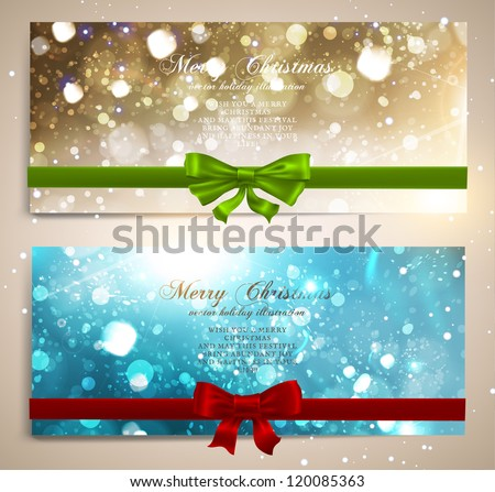 Xmas greeting cards with red and green bows and copy space. Golden and blue glow stars and snowflakes for Christmas design. Vector illustration