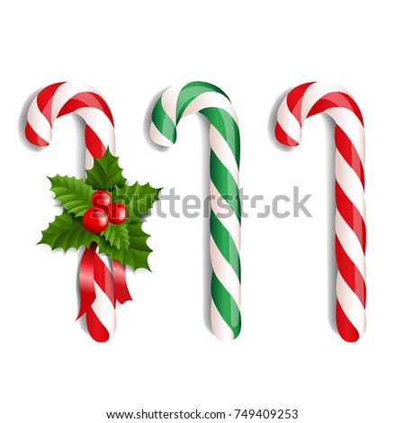 Xmas Lollipop Set With Gradient Mesh, Vector Illustration