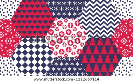 Xmas naive winter symbols seamless pattern in patchwork style. for background, wrapping paper, fabric, surface design. Endless simple Christmas repeatable motif for surface design