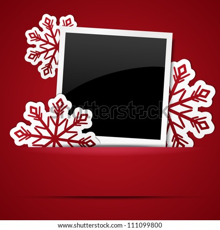 Xmas photo frame with snowflakes