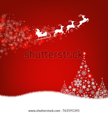 Xmas Postcard Fir Tree Border And Santa Claus With Gradient Mesh, Vector Illustration