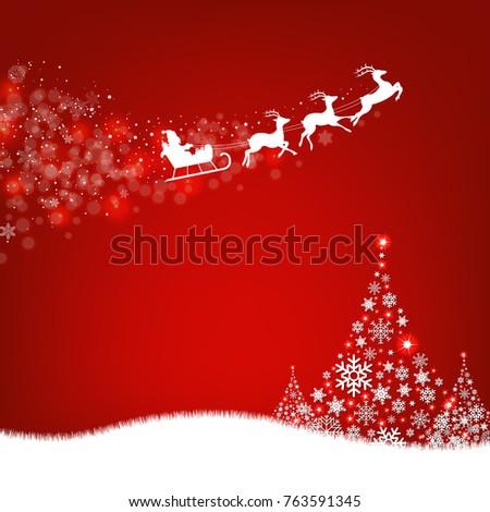 Xmas Postcard Fir Tree Border And Santa Claus With Gradient Mesh, Vector Illustration