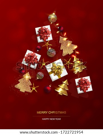 Xmas Poster, greeting card. New Year  Background with Christmas tree. Abstract Gold Christmas Trees.