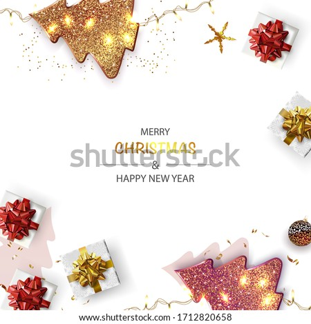 Xmas Poster, greeting cards, banner. New Year horizontal Background with Sparkling Christmas tree and Abstract Gold Christmas Trees. Top view.