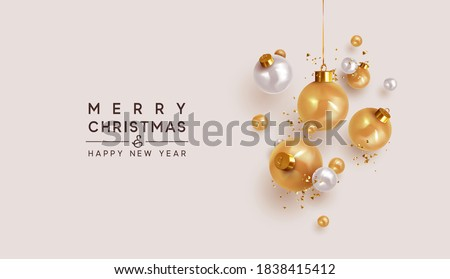 Xmas Realistic balls bauble hanging on ribbon. Merry Christmas and Happy New Year. Background with festive 3d golden and white balls. Falling Tinsel glitter gold confetti. vector illustration