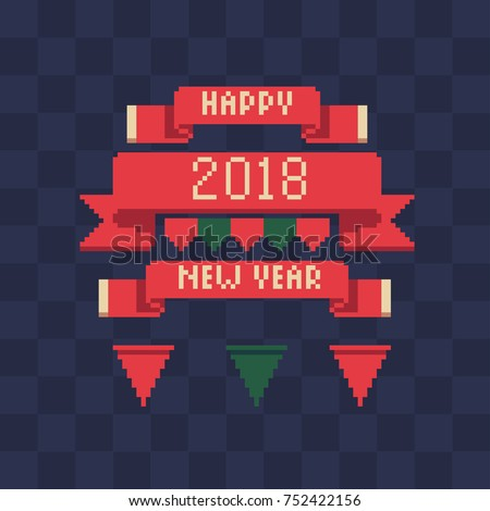 Xmas ribbons set. Happy new year lettering. Pixel art style banners. New Year's design of greeting card. Isolated vector illustration.