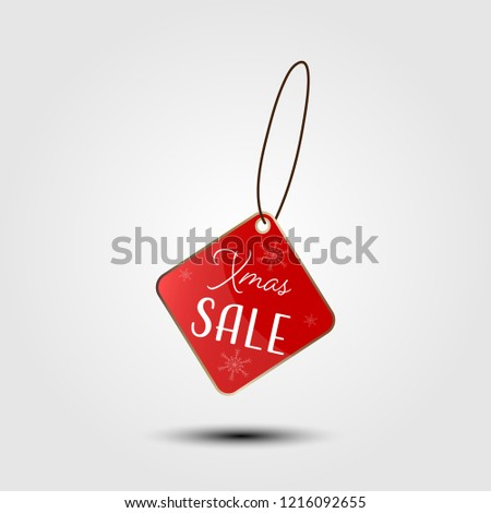 Xmas sale on red price tag vector illustration. #1216092655