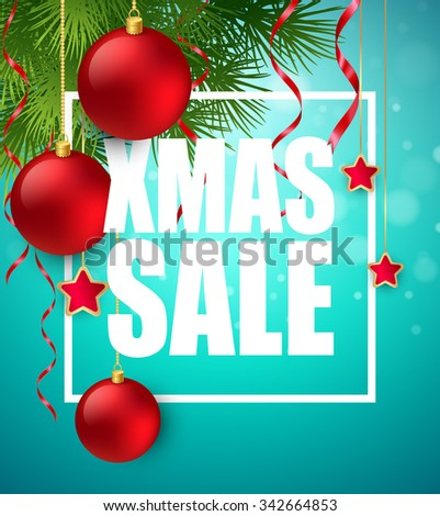 Xmas sale poster with cristmas decoration. Vector illustration EPS10