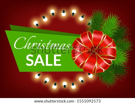 Xmas sale promotional banner for winter holidays shopping. Garlands and pine tree branches with ribbon bow and calligraphic inscription. New year proposition from shops. Clearance ads vector