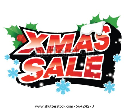 Xmas sale sign with snowflakes