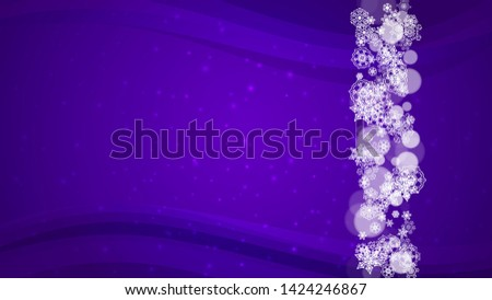 Xmas sales with ultraviolet snowflakes. New Year backdrop. Snow border for gift coupons, vouchers, ads, party events. Christmas trendy background. Holiday frosty banner for xmas sales
