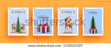 Xmas Set of holiday backgrounds. Merry Christmas and Happy New Year. Collection of greeting cards, covers, web posters, banners. holiday brochures, flyers. Christmas trees, gold deer and gift boxes