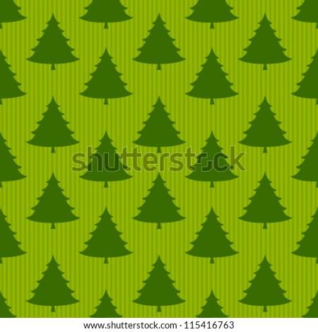 xmas tree on striped green seamless pattern