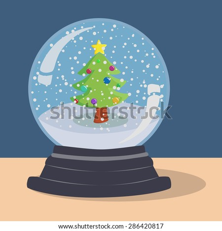 Xmas Tree Snow Ball. Christmas illustration theme with Christmas Tree in blue snow ball.