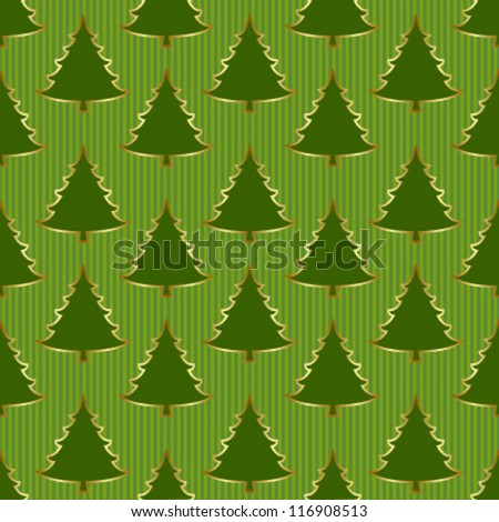 xmas tree with gold outline on striped green seamless pattern