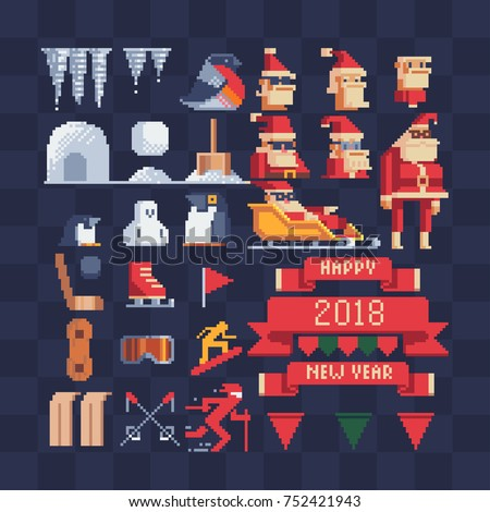 Xmas vector. Pixel art icons set. Christmas knitting ribbons with happy new year lettering. New Year's design of greeting card. Isolated vector illustration.