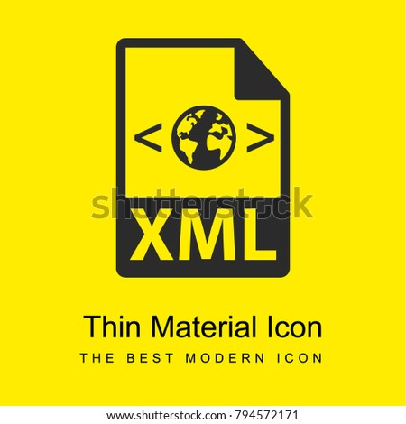 XML file format variant bright yellow material minimal icon or logo design