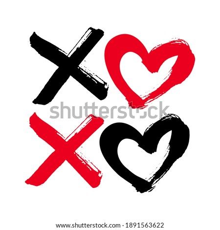 XoXo hand drawn phrase isolate on white background. Kisses sign, icon, logo with red and black heart and cross. Grunge brush lettering X O kiss symbol.  Valentine's day greeting card, poster, banner.