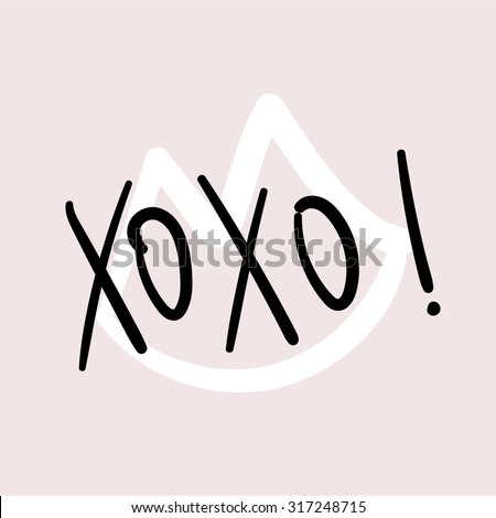 xoxo  hand written vector text