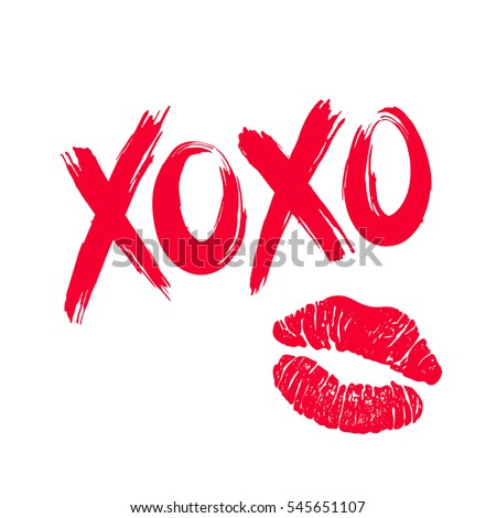 XOXO (hugs and kisses) brush lettering and lipstick kiss on a white background. Vector illustration