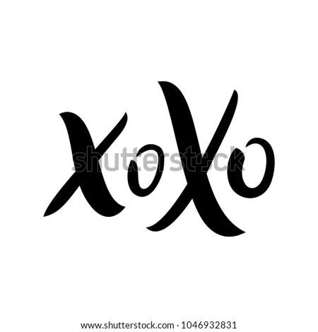 xoxo kiss hand drawn image xo