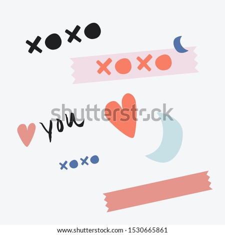 xoxo. Kiss hug kiss hug. Love you. Pretty hand drawn vector sticker sheet set. Cute emblems set, arty symbols, logos, art poster. Sticky note with shapes: moon, heart, wash, in baby blue, pink, coral.