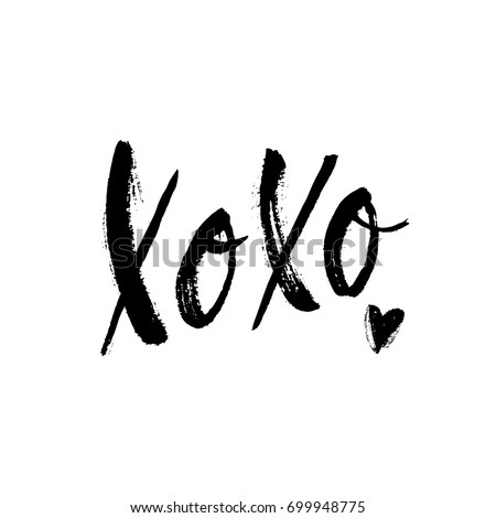 xoxo phrase with sketch heart