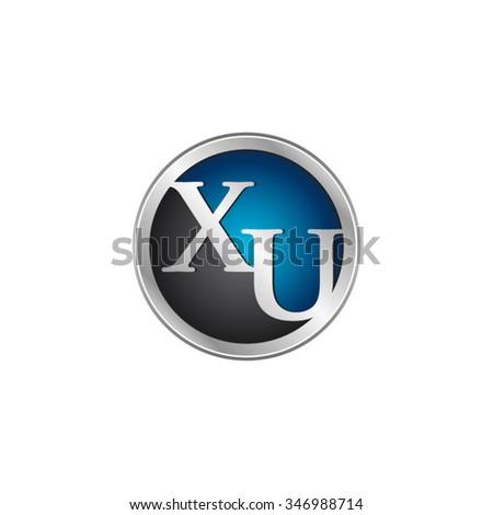 XU initial circle logo blue