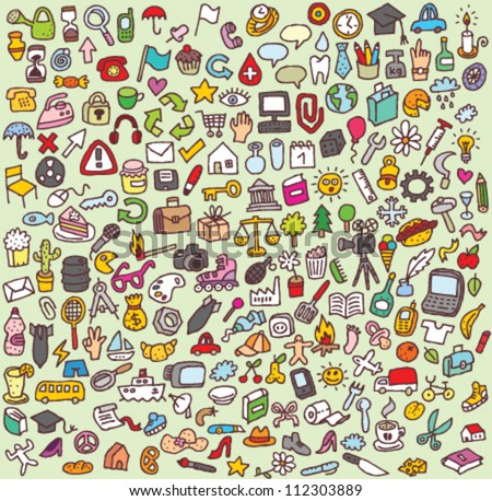 XXL Doodle Icon Set : collection of numerous small hand-drawn icon illustrations Stockfoto ©