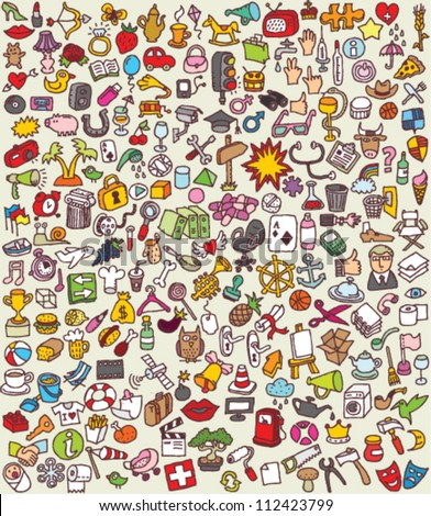 XXL Doodle Icons Set : collection of numerous small hand-drawn illustrations