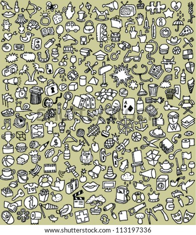XXL Doodle Icons Set : collection of numerous small hand-drawn illustrations (in black and white)