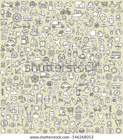 XXL Doodle Icons Set No.4 for every occasion in black-and-white. Small hand-drawn illustrations are isolated (group) on background and in eps8 vector mode.