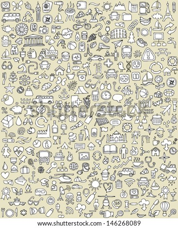 XXL Doodle Icons Set No.1 for every occasion in black-and-white. Small hand-drawn illustrations are isolated (group) on background and in eps8 vector mode. Stockfoto ©