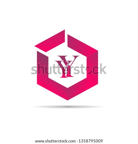 Y and y creative initial red hexagonal vector