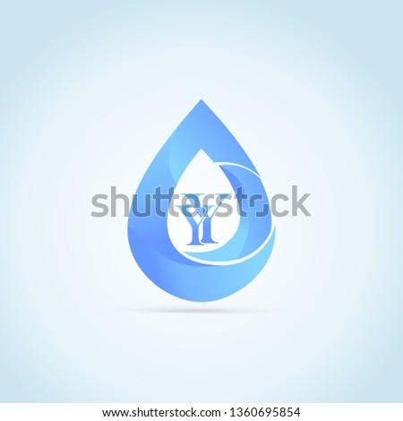 Y and y creative logo initial blue Drop vector