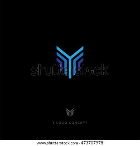Y letter. Blue lines logo. Y monogram. Foto stock ©