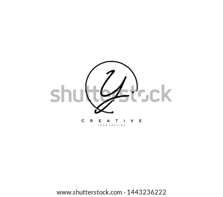 Y letter calligraphic Minimal monogram emblem style vector logo Foto stock ©